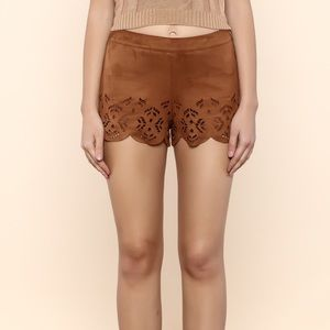 Pants - Faux Suede High Waisted Shorts